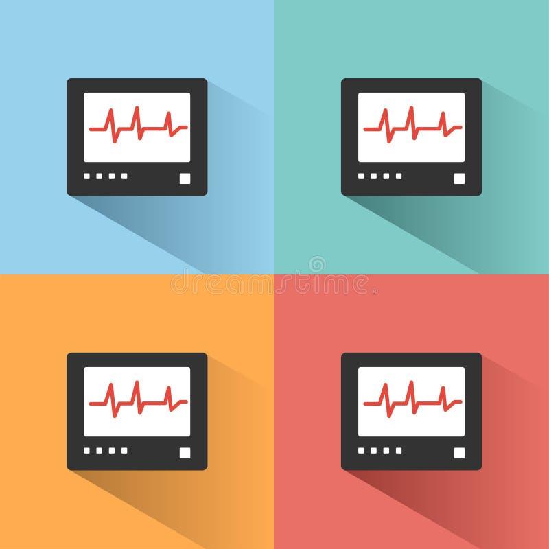 Ícone da cor do monitor da frequência cardíaca com sombra em fundos coloridos heartbeat ilustração royalty free
