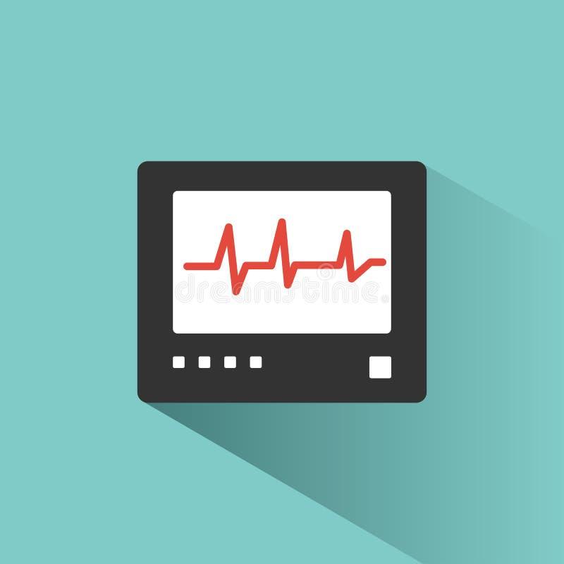 Ícone da cor do monitor da frequência cardíaca com sombra em um fundo verde heartbeat ilustração royalty free