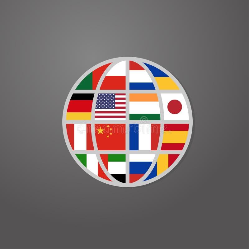 Ícone da cor do mundo com vetor das bandeiras de países ilustração do vetor