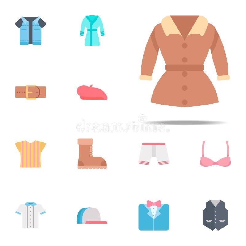 Ícone da cor do revestimento de trincheira Grupo universal dos ícones da roupa para a Web e o móbil ilustração do vetor
