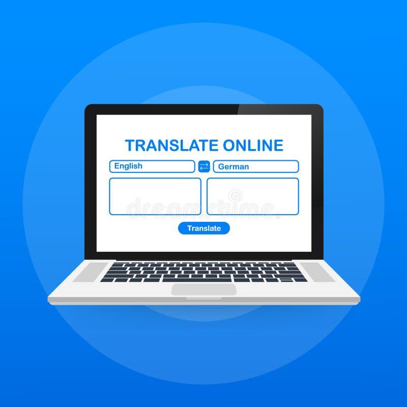 Ícone da cor da tradução de língua Tradutor em linha Verificação de período Tela de computador com o texto que traduz o app Ilust ilustração royalty free