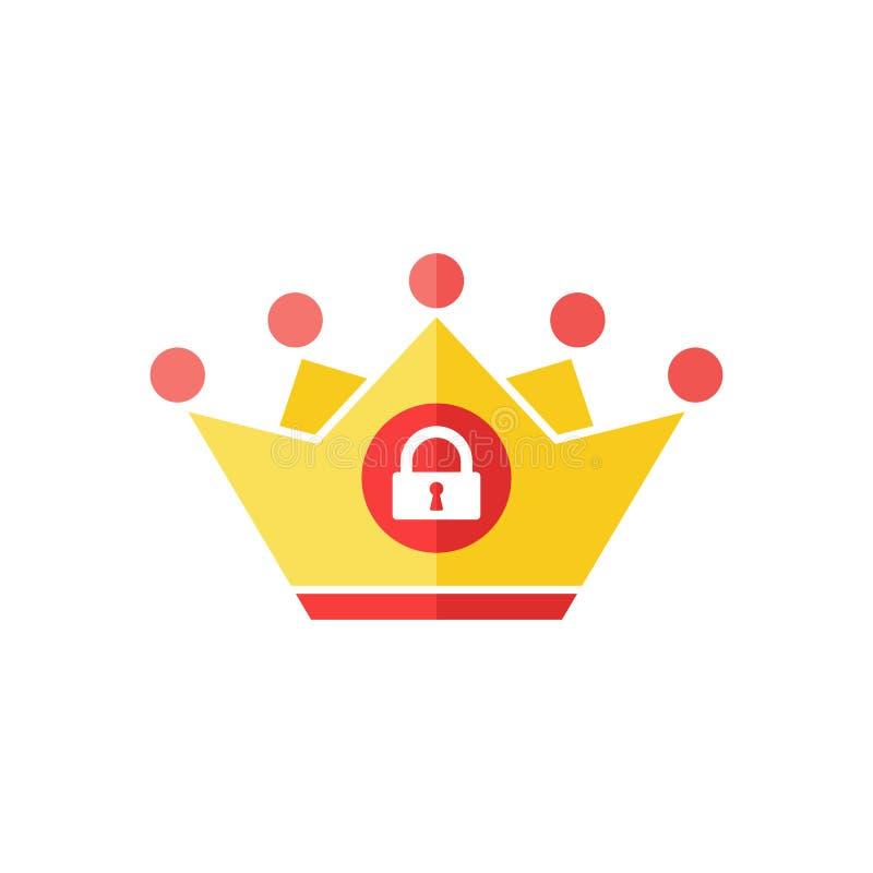 Ícone da coroa com sinal do cadeado Ícone da autoridade e segurança, proteção, símbolo da privacidade ilustração stock