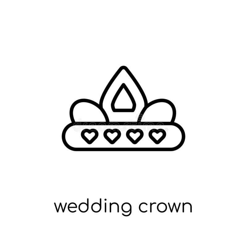 ícone da coroa do casamento da coleção do casamento e do amor ilustração stock