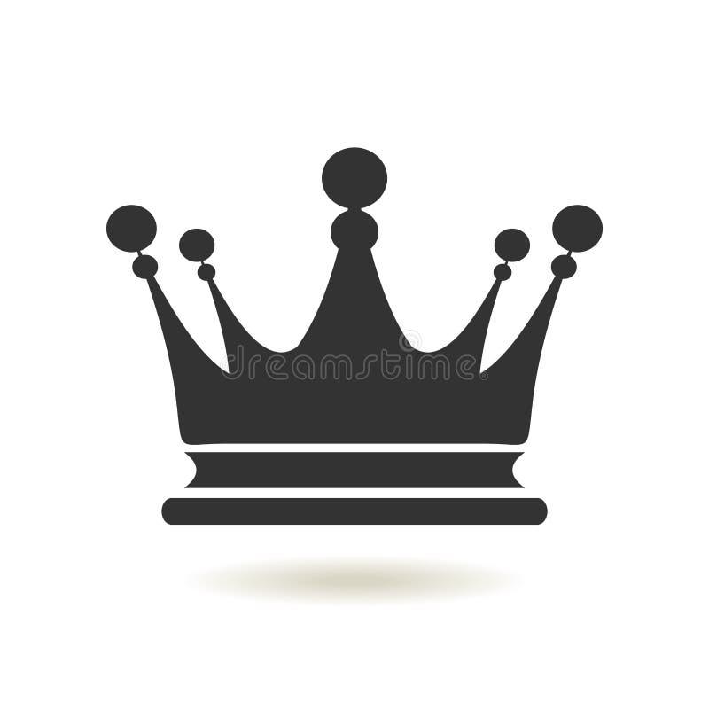 Ícone da coroa no estilo liso na moda Autoridade da monarquia e símbolos reais Ícones monocromáticos da antiguidade do vintage Sí ilustração stock