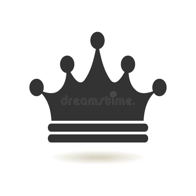 Ícone da coroa no estilo liso na moda Autoridade da monarquia e símbolos reais Ícones monocromáticos da antiguidade do vintage Sí ilustração do vetor
