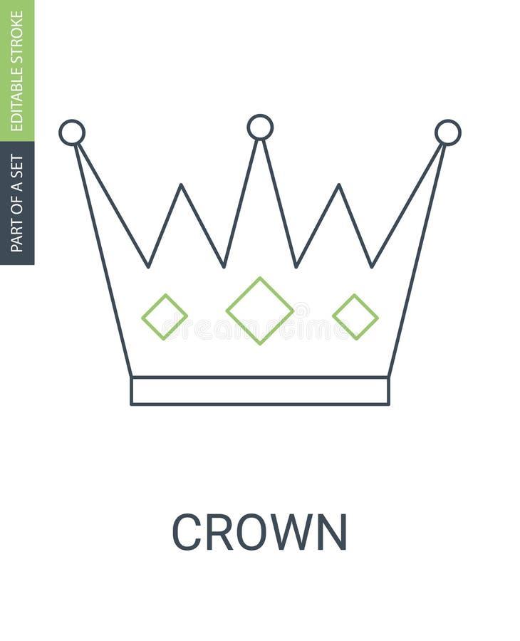 Ícone da coroa no estilo liso na moda isolado no branco S?mbolo para seu projeto da site, logotipo da coroa, app, UI Vetor ilustração do vetor
