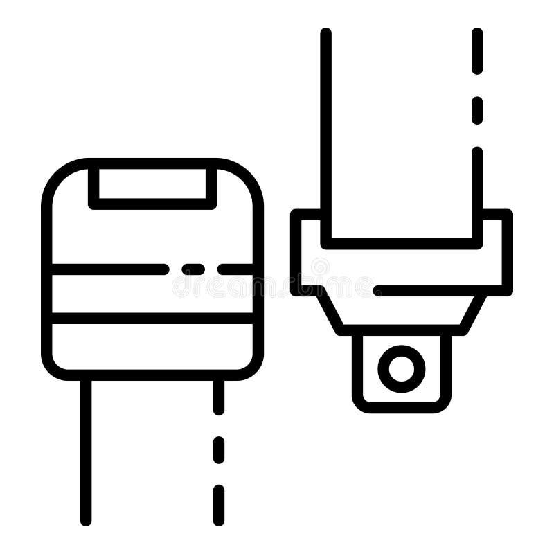 Ícone da correia de segurança do carro, estilo do esboço ilustração do vetor