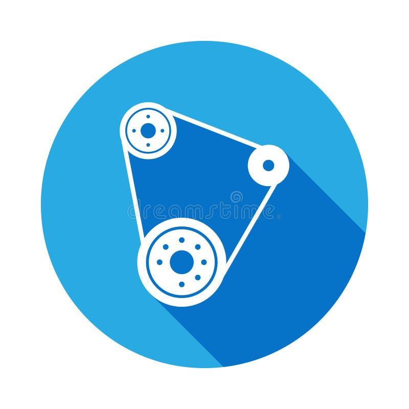 Ícone da correia de sincronismo com sombra longa Elemento da ilustração dos serviços de reparações do carro Sinais e ícone para W ilustração do vetor