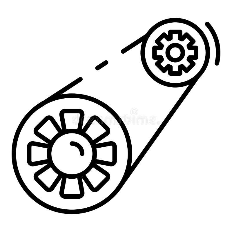 Ícone da correia de sincronismo do carro, estilo do esboço ilustração royalty free