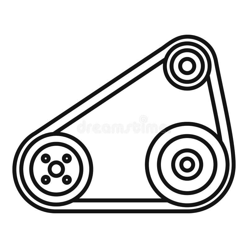 Ícone da correia de sincronismo, estilo do esboço ilustração stock