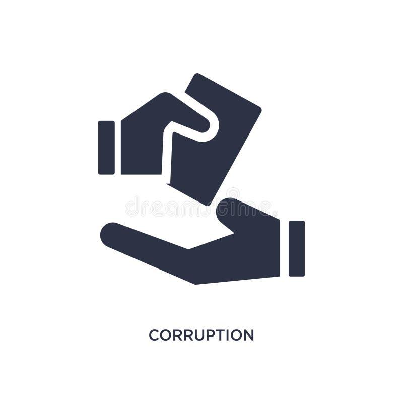 ícone da corrupção no fundo branco Ilustração simples do elemento do conceito das éticas ilustração do vetor