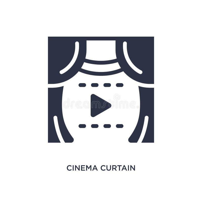 ícone da cortina do cinema no fundo branco Ilustração simples do elemento do conceito do cinema ilustração royalty free