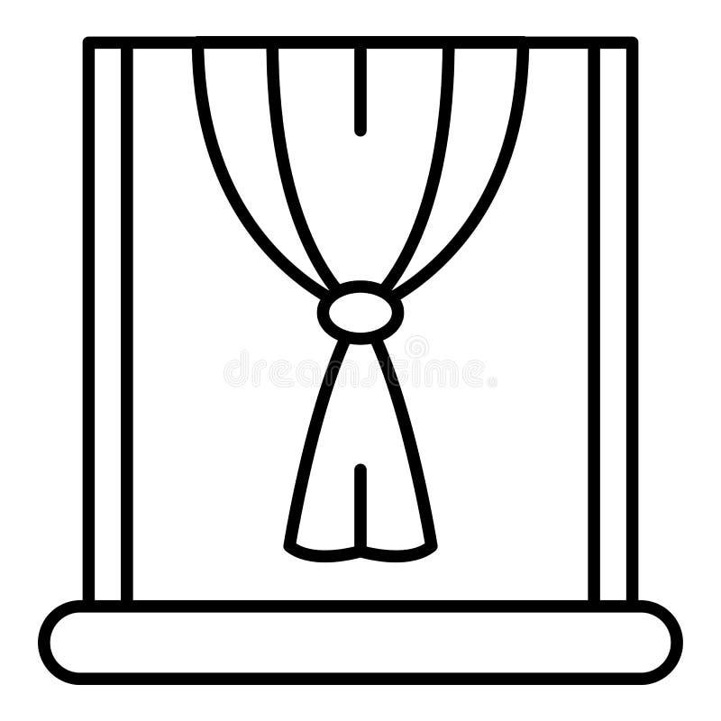 Ícone da cortina do nó da janela, estilo do esboço ilustração do vetor