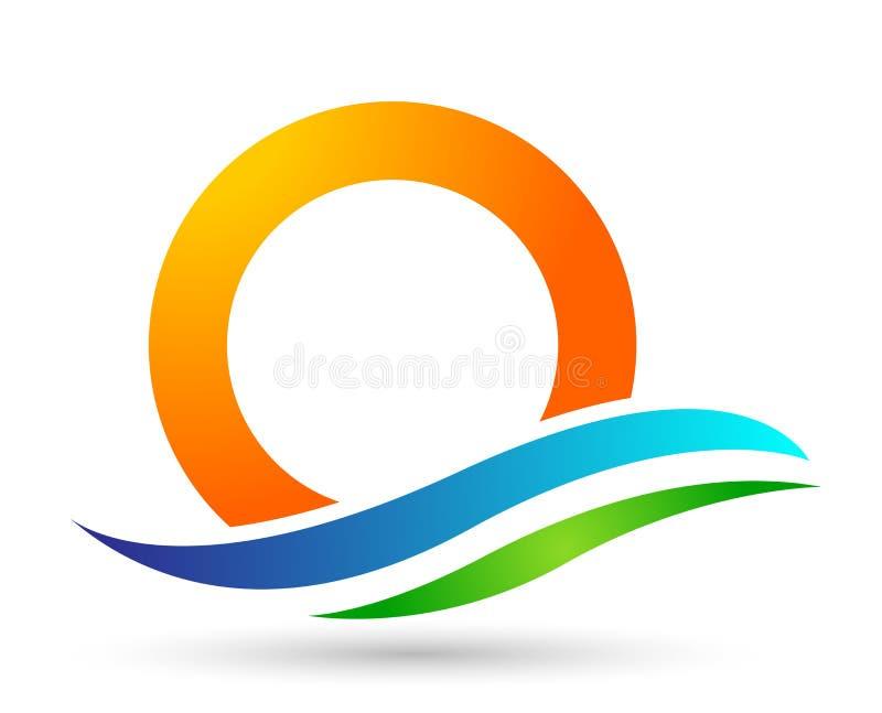 Ícone da costa do projeto do logotipo do vetor da praia do verão do feriado do turismo do hotel da onda de água do logotipo da pr ilustração do vetor