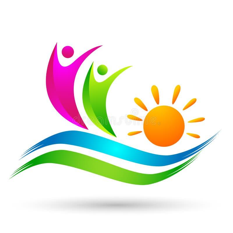Ícone da costa do projeto do logotipo do vetor da praia do verão do feriado do turismo do hotel da onda de água do logotipo da pr ilustração stock