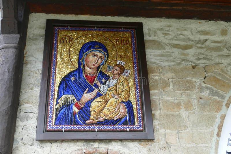Ícone da criança de Madonna e de Cristo fotografia de stock royalty free