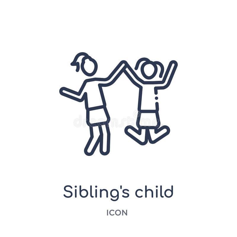 Ícone da criança do irmão linear da coleção do esboço das relações de família Vetor da criança da linha irmão fino isolado no bra ilustração do vetor