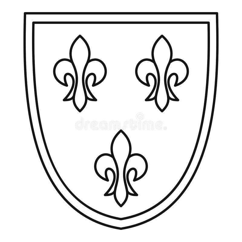 Ícone da crista, estilo do esboço ilustração do vetor