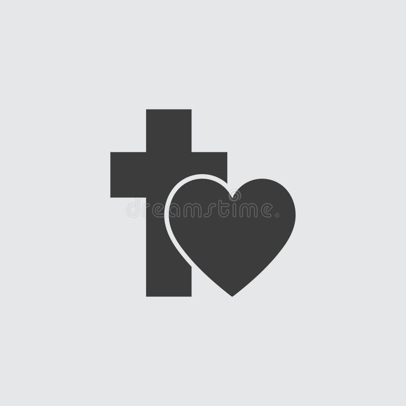 Ícone da cruz e do coração no preto em um fundo cinzento Ilustração do vetor ilustração stock