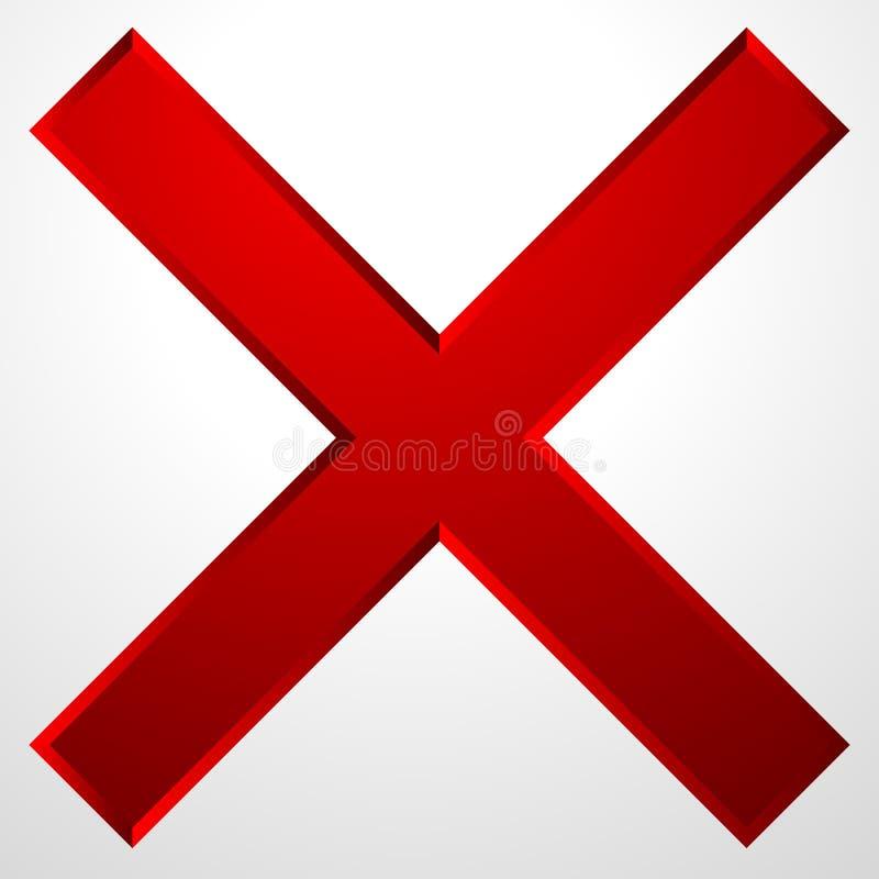 Ícone da cruz vermelha com efeito chanfrado A supressão, remove o ícone, sinal ilustração do vetor