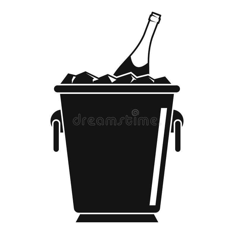 Ícone da cubeta de gelo de Champagne, estilo simples ilustração royalty free