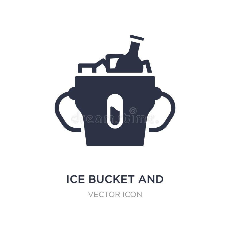 ícone da cubeta e da garrafa de gelo no fundo branco Ilustração simples do elemento do conceito das bebidas ilustração stock