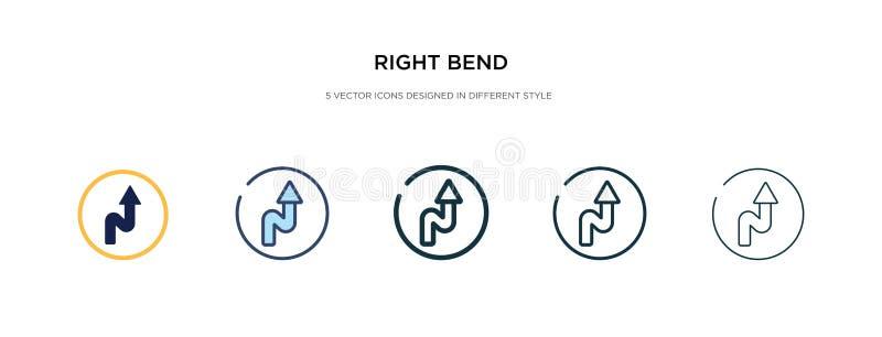 Ícone da curvatura direita em ilustração de vetor de estilo diferente dois ícones coloridos e pretos do vetor de curvas da direit ilustração royalty free