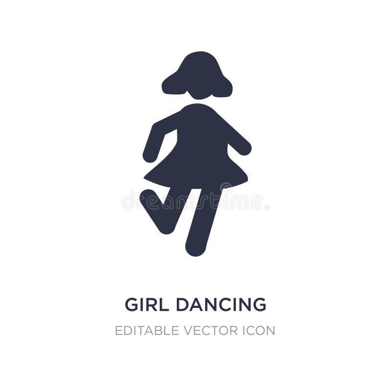 ícone da dança da menina no fundo branco Ilustração simples do elemento do conceito dos povos ilustração do vetor