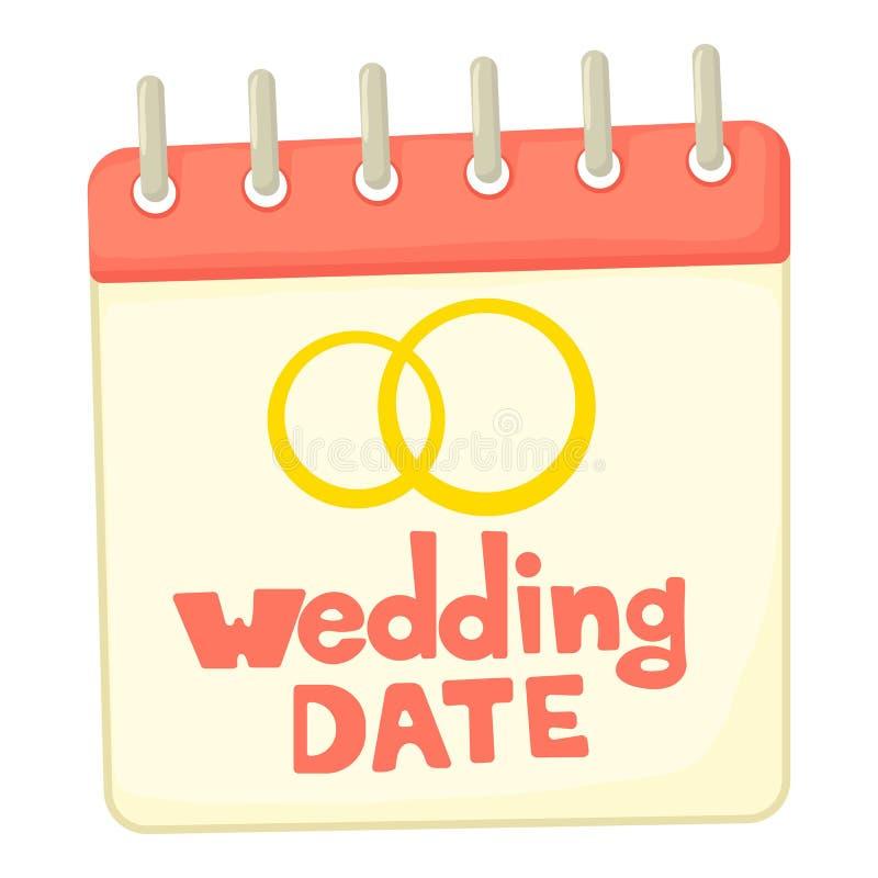 Ícone da data do casamento, estilo dos desenhos animados ilustração stock