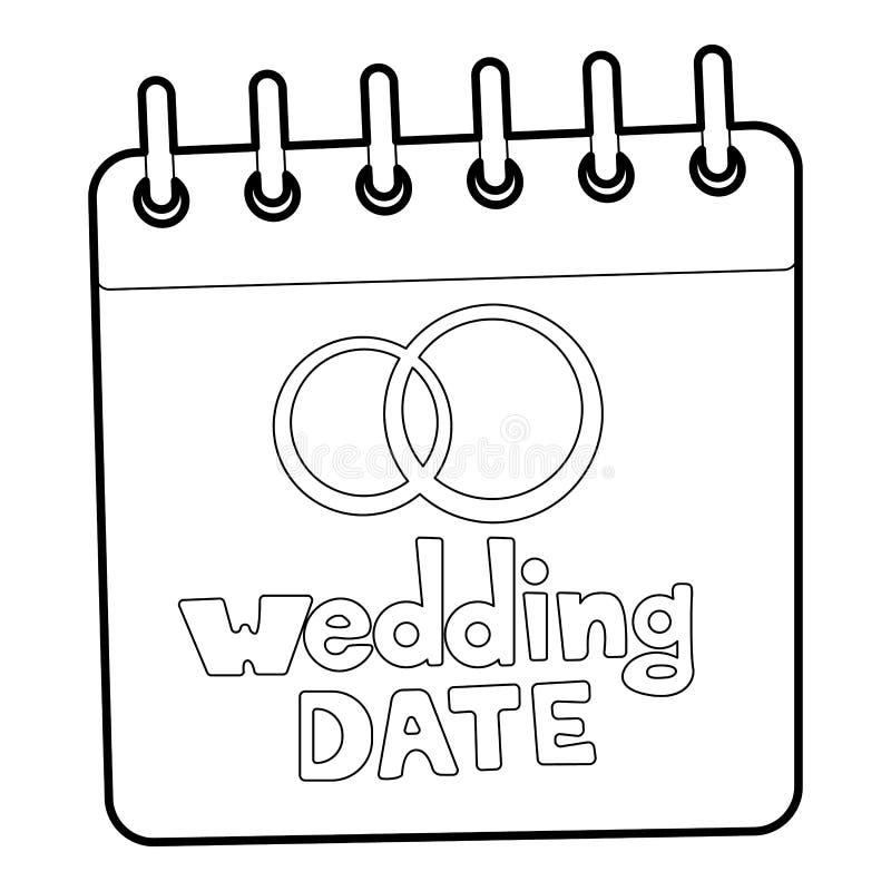 Ícone da data do casamento, estilo do esboço ilustração stock