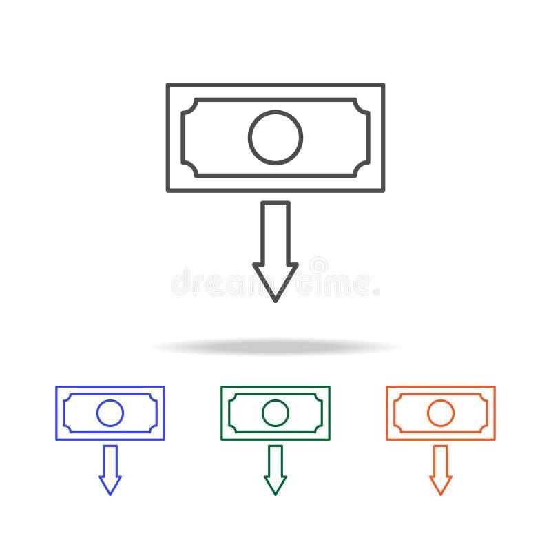 ícone da depreciação Elementos da guerra comercial em multi ícones coloridos Ícone superior do projeto gráfico da qualidade Ícone ilustração do vetor