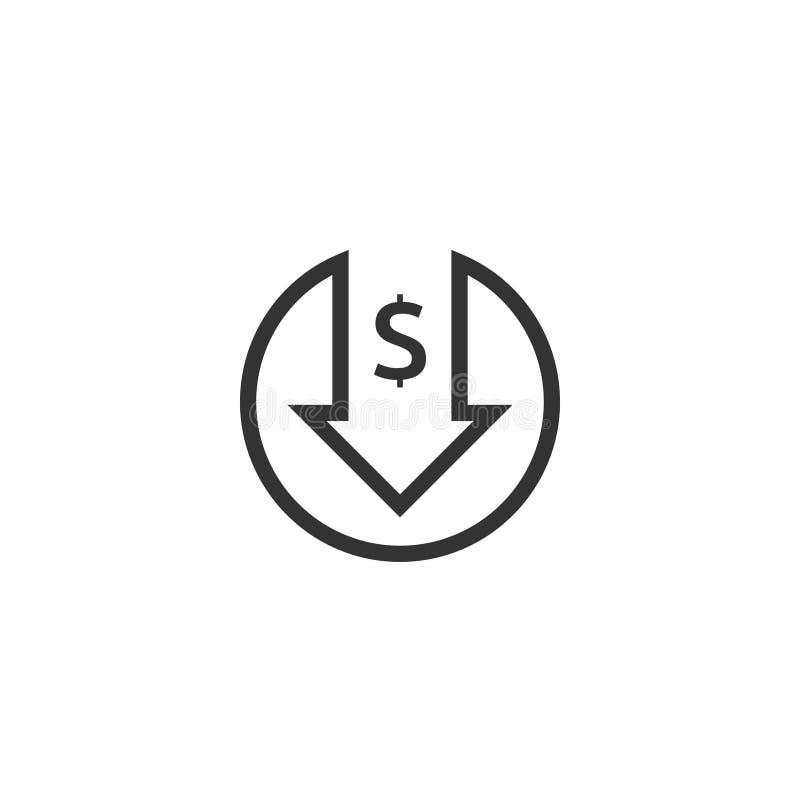 ícone da diminuição do dólar O símbolo do dinheiro com a seta que estica a gota de aumentação cai para baixo Ícone da redução de  ilustração stock