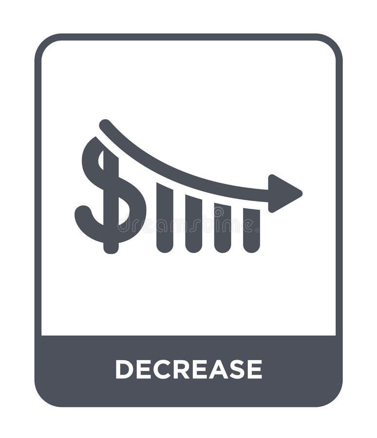 ícone da diminuição no estilo na moda do projeto ícone da diminuição isolado no fundo branco plano simples e moderno do ícone do  ilustração do vetor