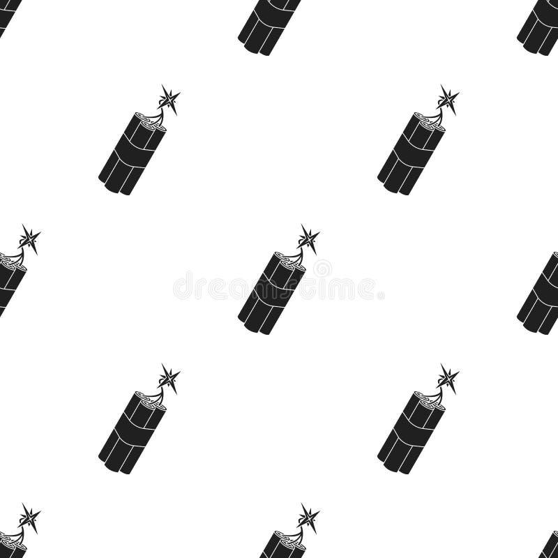 Ícone da dinamite no estilo preto isolado no fundo branco Ilustração ocidental selvagem do vetor do estoque do teste padrão ilustração royalty free