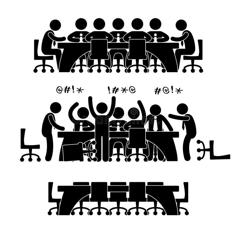 Ícone da discussão da reunião de negócio ilustração do vetor