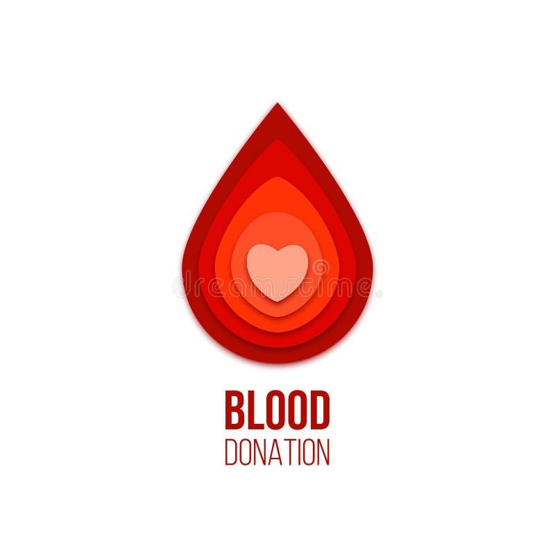 Ícone da doação de sangue Gota vermelha do sangue do vetor com coração para dentro ilustração royalty free