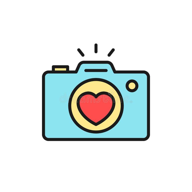 Ícone da documentação da fotografia da câmera do banquete de casamento câmera com ilustração da lente do amor para o projeto de c ilustração do vetor