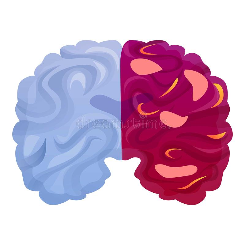 Ícone da doença de cérebro, estilo dos desenhos animados ilustração royalty free
