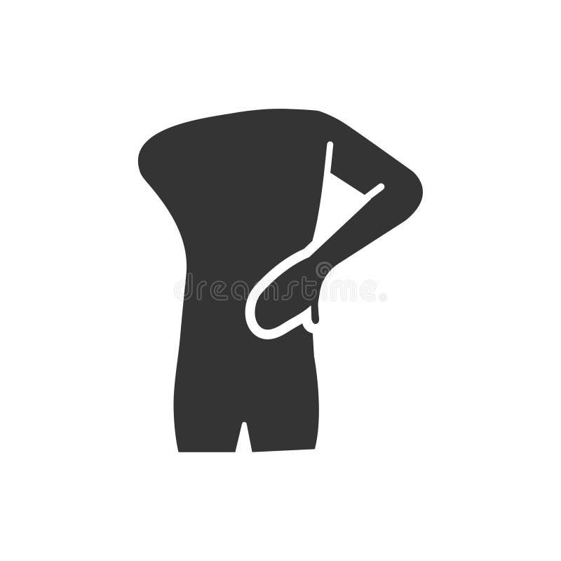 Ícone da dor nas costas ilustração royalty free