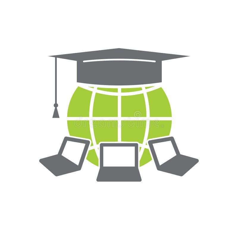 Ícone da E-educação no fundo branco para o gráfico e o design web, sinal simples moderno do vetor Conceito do Internet Símbolo na ilustração stock