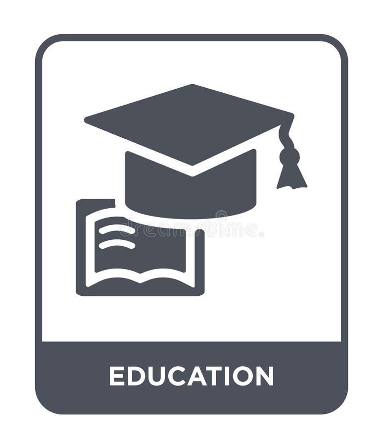 ícone da educação no estilo na moda do projeto Ícone da educação isolado no fundo branco plano simples e moderno do ícone do veto ilustração do vetor