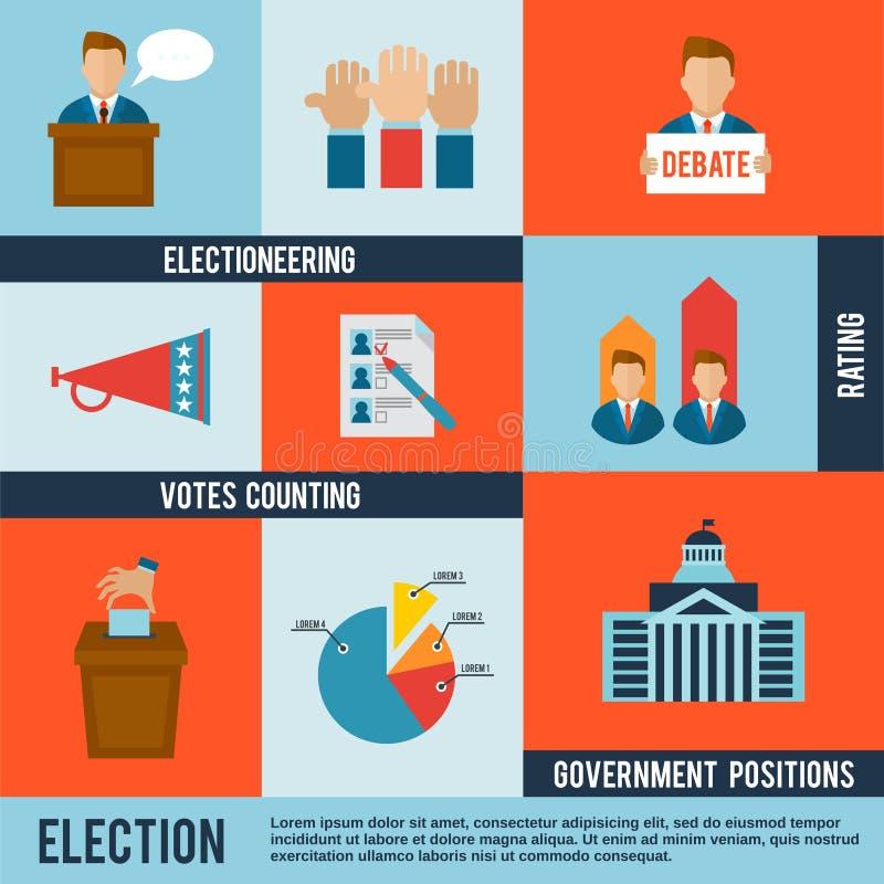Ícone da eleição liso ilustração do vetor