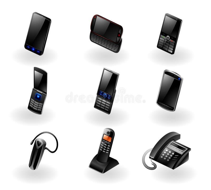 Ícone da eletrônica ajustado - telefones/comunicação ilustração stock