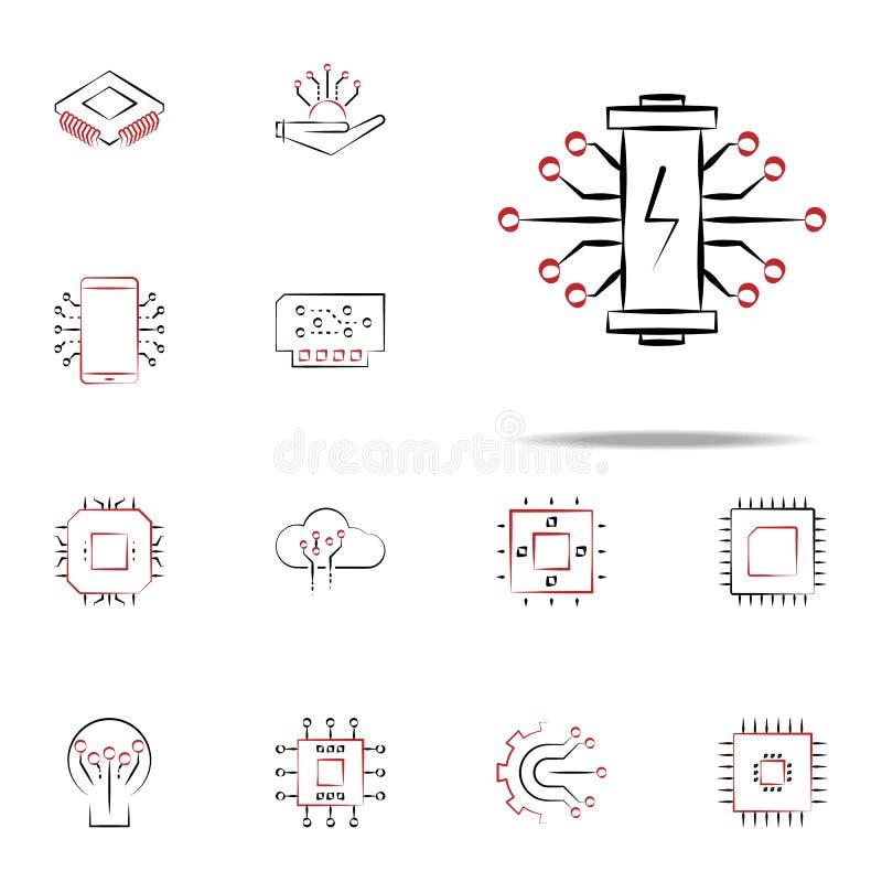 ícone da eletrônica da bateria Grupo universal dos ícones da eletrônica para a Web e o móbil ilustração stock