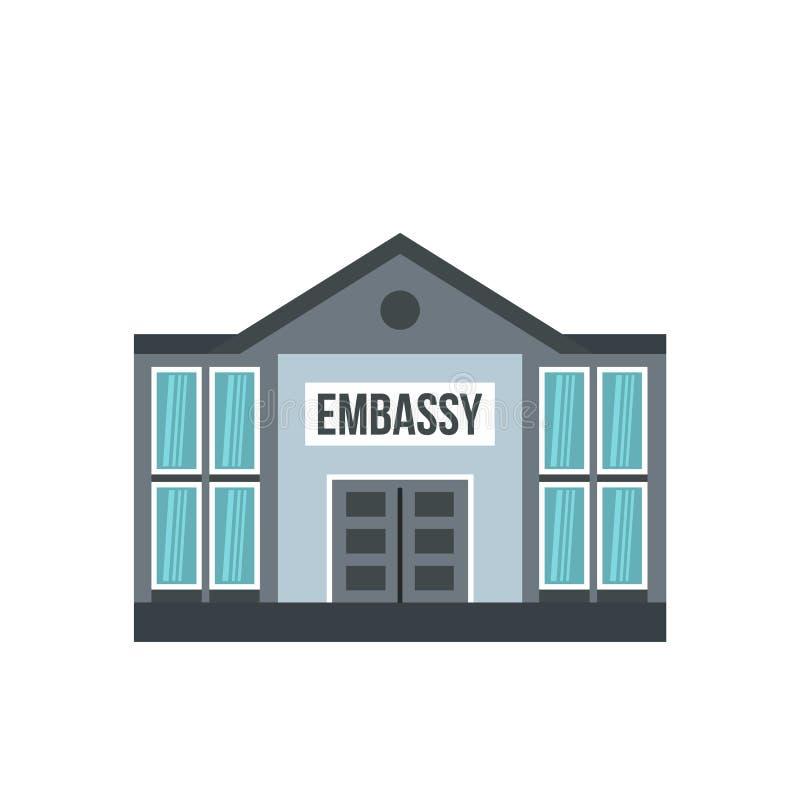 Ícone da embaixada, estilo liso ilustração stock