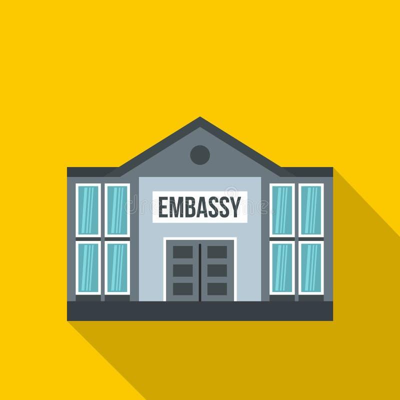 Ícone da embaixada, estilo liso ilustração do vetor