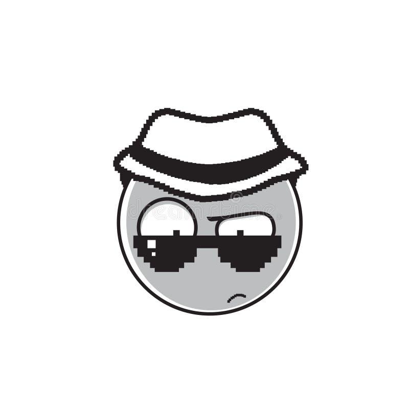 Ícone da emoção dos óculos de sol de Cartoon Face Wear do detetive e dos povos do chapéu ilustração do vetor