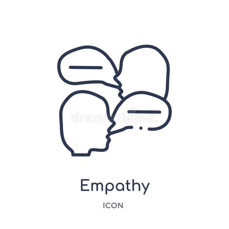 Ícone da empatia da coleção do esboço das habilidades dos povos Linha fina ícone da empatia isolado no fundo branco ilustração royalty free