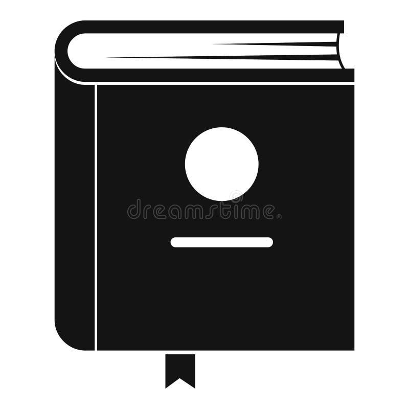 Ícone da enciclopédia do livro, estilo preto simples ilustração stock