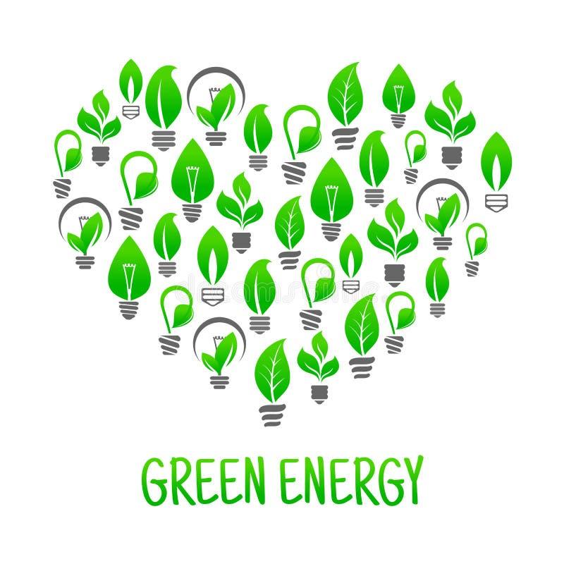 Ícone da energia da economia com o coração feito de ampolas ilustração stock